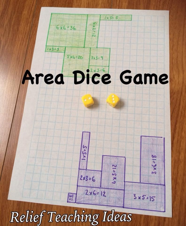 Area Dice Game … | math | Pinterest | Math, Gaming and Multiplication