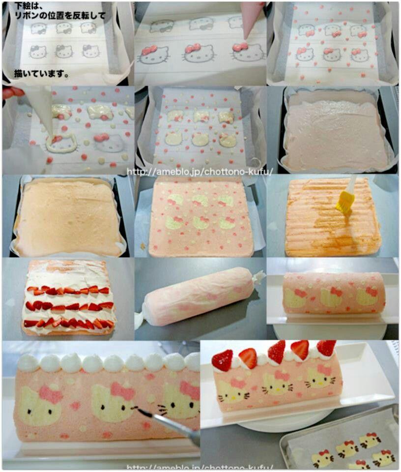 hello kitty roll cake tutorial