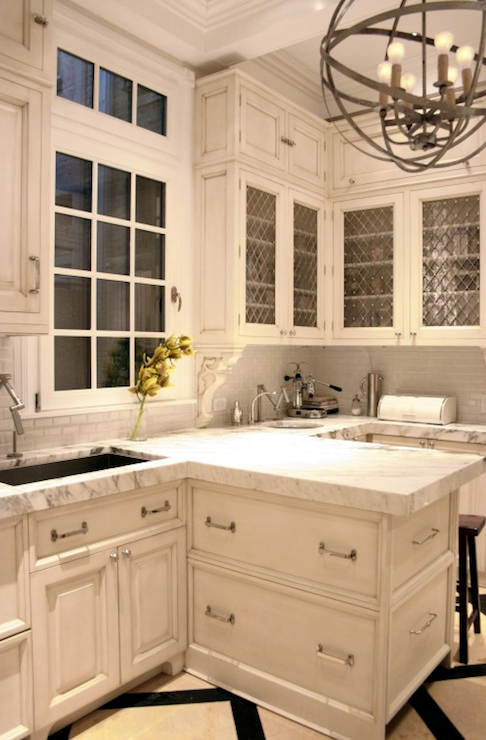 decorative grilles for kitchen cabinets ideas KItchen Lab - kitchens - decorative grille, white cabinets, white kitchen  cabinets, distressed cabinets, distressed kitchen cabinets, mini subway  tiles, ...