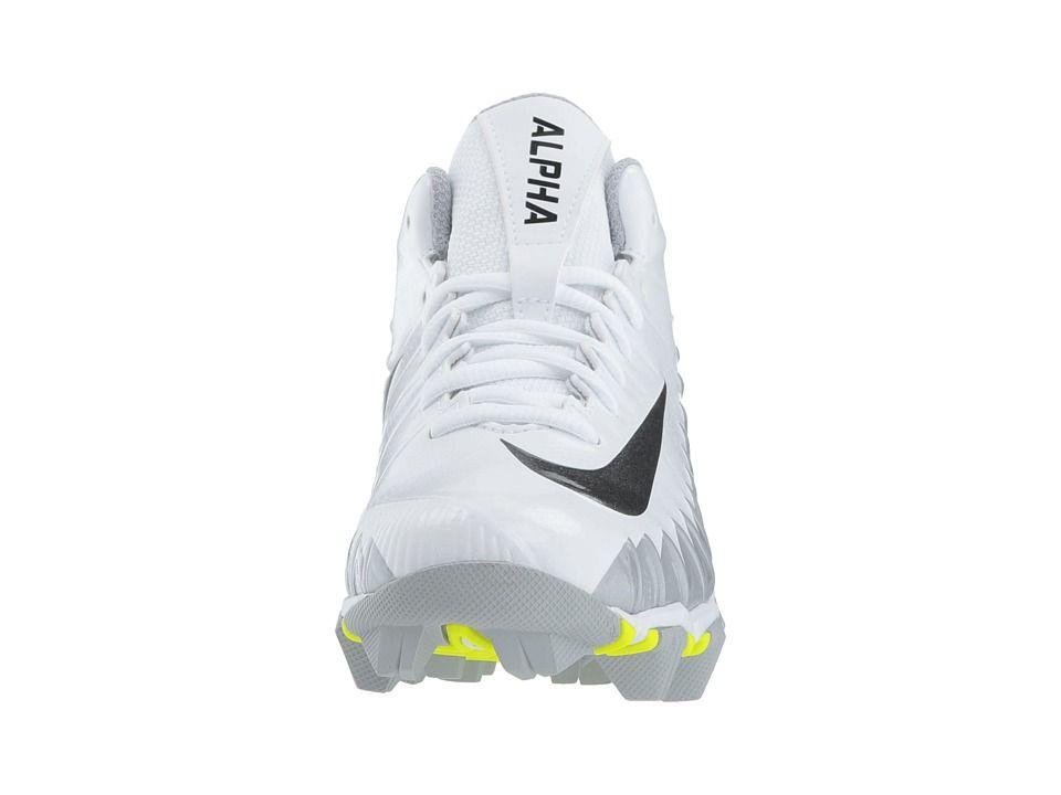newest c3d67 9cfd9 Nike Kids Alpha Menace Shark Football (Toddler Little Kid Big Kid) Kids  Shoes White Black Metallic Silver Wolf Grey