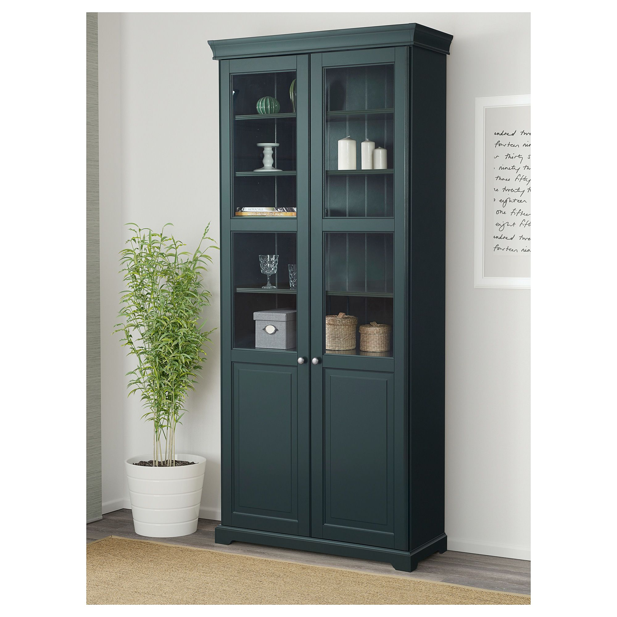 Liatorp Bookcase With Glass Doors Dark Olive Green In The Eller Home Furniture Bookcase With Glass Doors Liatorp Ikea Bookcase
