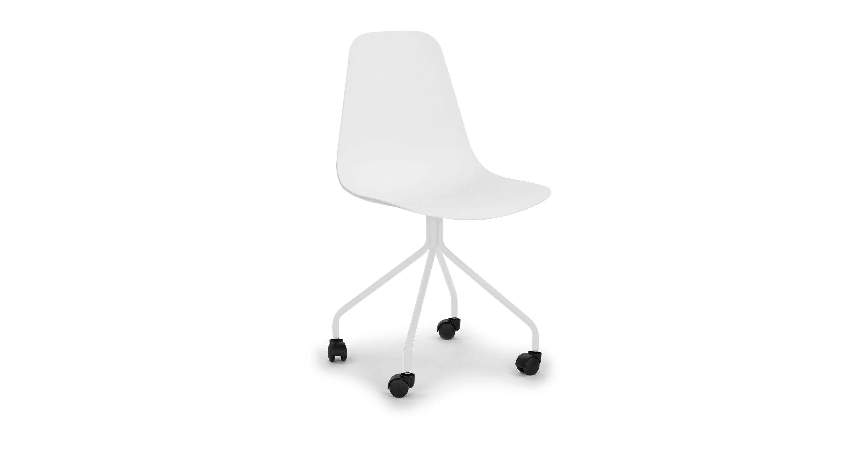 white modern office chair white rolling. White Office Chair In Rubber Castor Wheels | Article Svelti Modern Furniture Rolling H