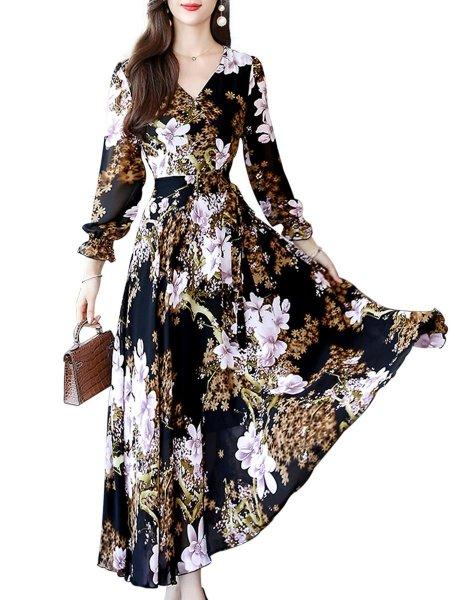Women's ed Maxi Floral Print V Neck A Line Dress Belt Sweet Slim Mid Waist Long Sleeve dresses [Dresses 7076515] - $36.19 : Buy Cheap Dresses Online COOLBS Shop -   18 dress Maxi floral ideas