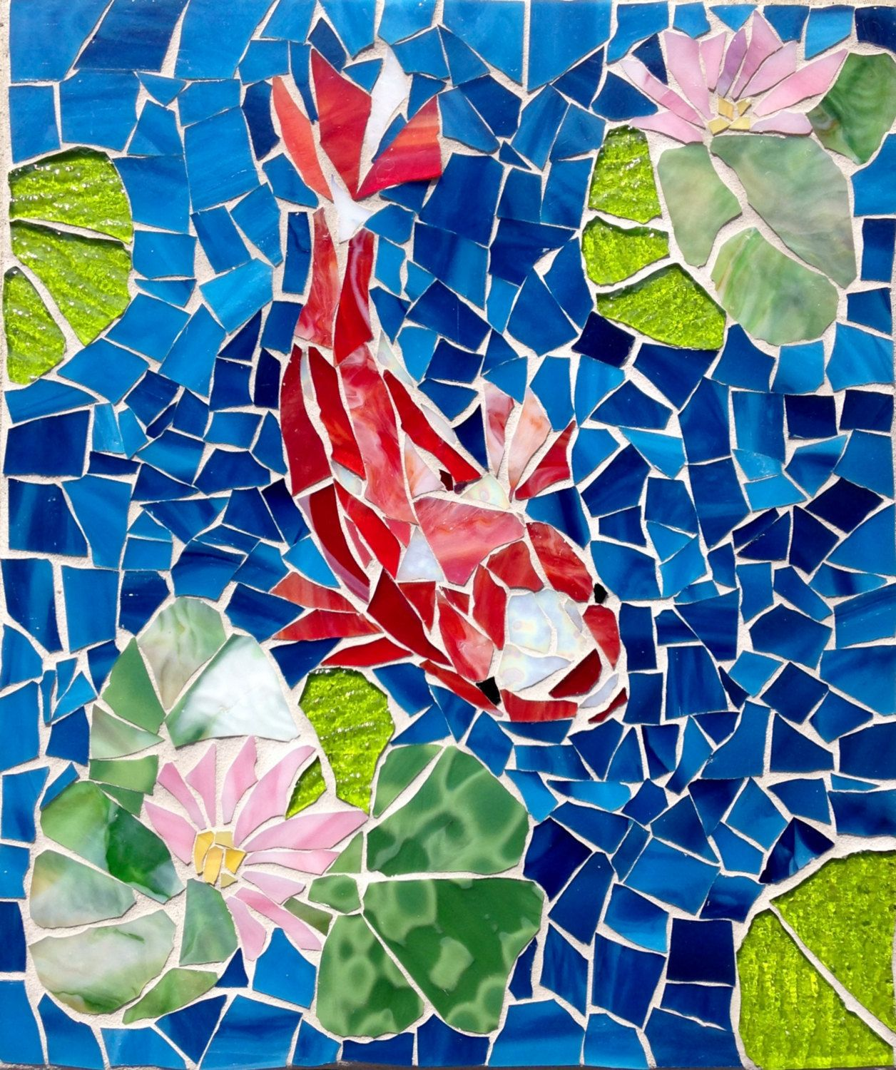 stunning Koi Mosaics Part - 7: CUSTOM ORDER Outdoor Stained Glass Koi Mosaic by MaitriMosaics on Etsy