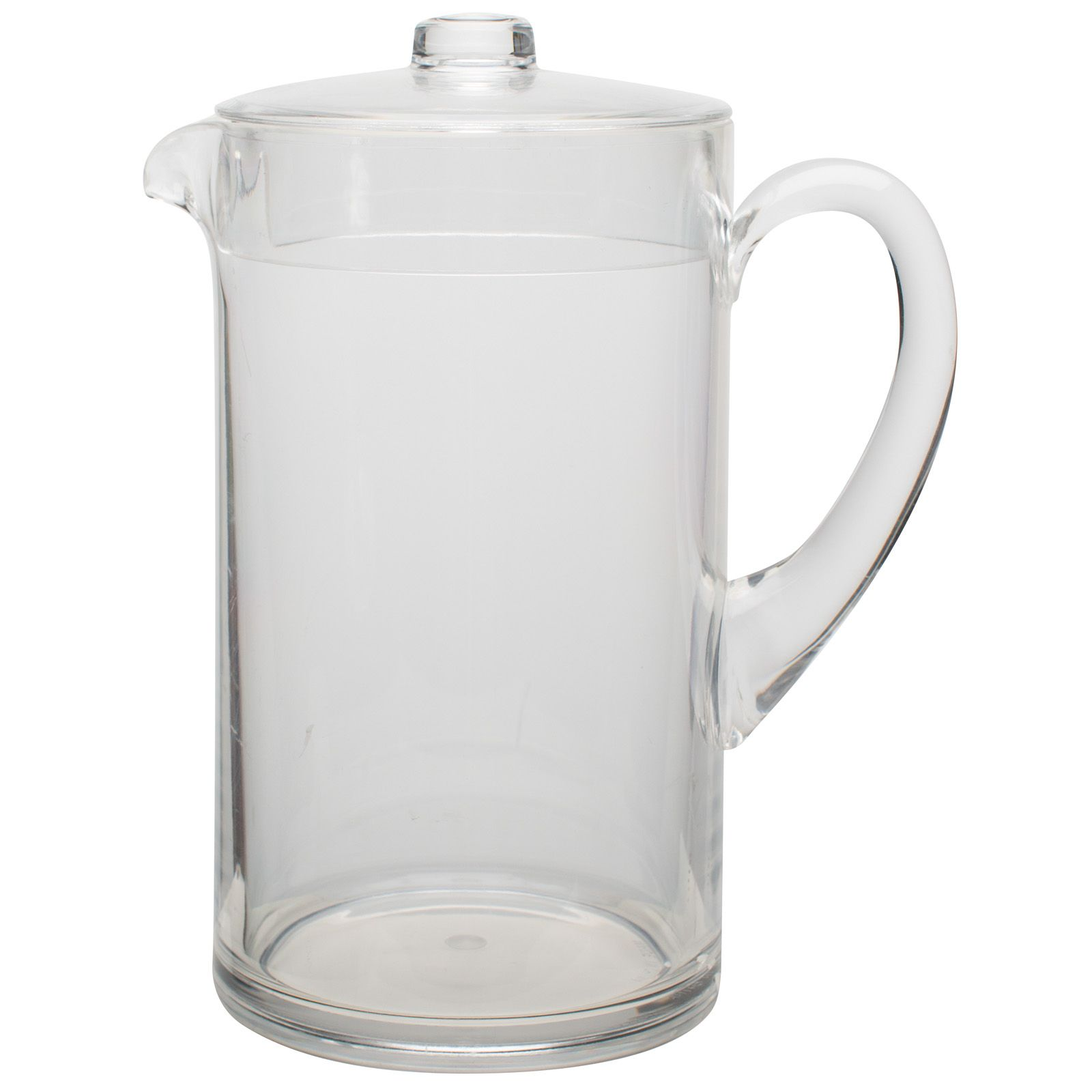 Clear 2quart water pitcher with lid front view