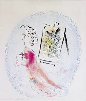 Marc Chagall -  Le Chevalet, 1969 lithograph in colors 21.3 x 18.9 inches