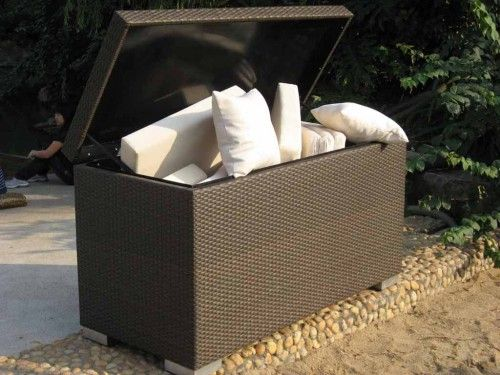 Exceptionnel Wicker Rattan Cushion Storage Box