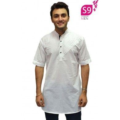 Mens Cotton Native Print Half Sleeve Summer Kurta Shirt
