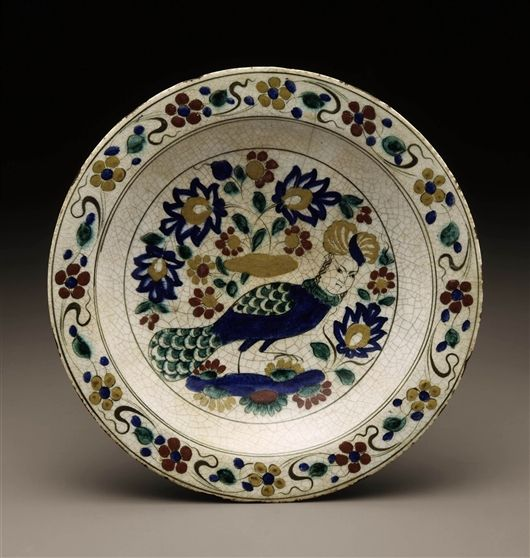 "Safavid Plate, Iran, 1600s, Underglaze painted fritware, so-called ""Kubachi ware""."
