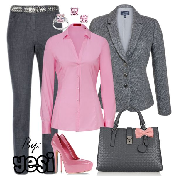 Outfit Para La Oficina En Colores Grises Oxford Combinado Con Rosa 107 Womens Business Casual Career Outfits Fashion