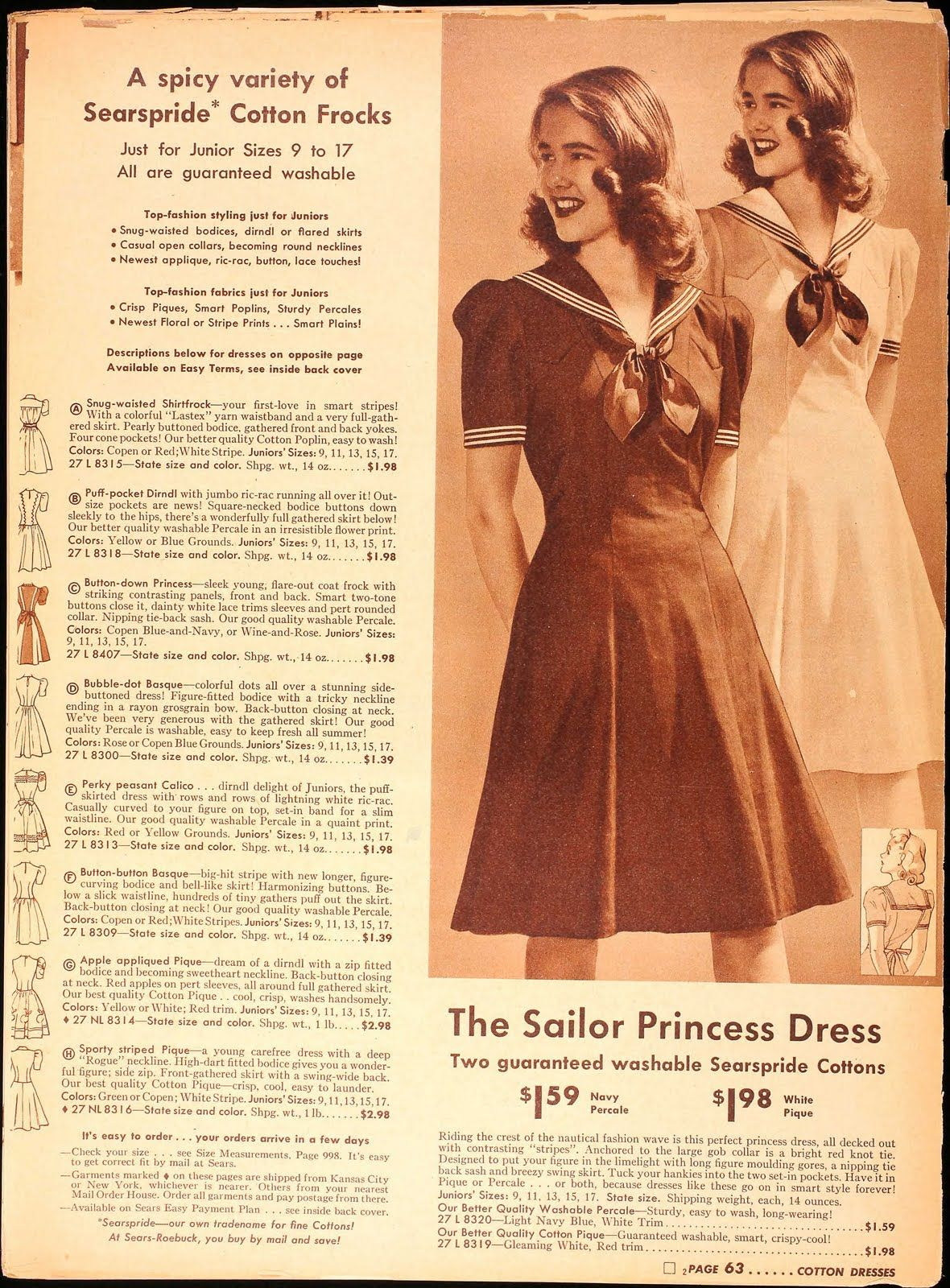 Sailor dresses in Sears, 1942 Tuppence Ha'penny: Sailor