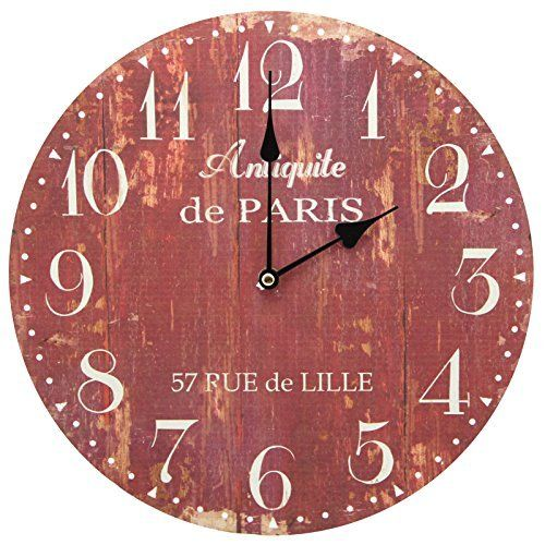 13 Wall Clock With Vintage French Antiquite De Paris Rustic Prints Retro Wall Clock Wall Clock Rustic Clock
