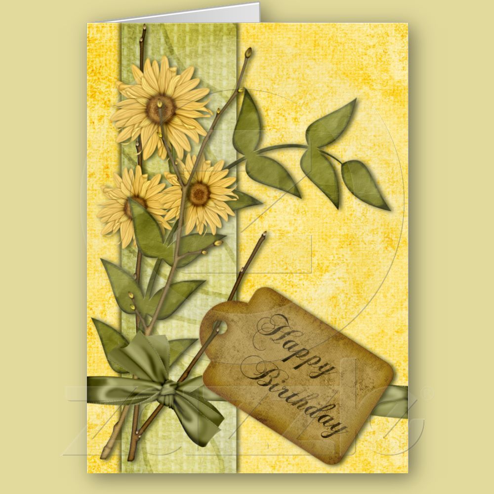Happy colors for a happy birthday fresh spring colors in yellow and shop spring flowers birthday card created by rainbowcards izmirmasajfo