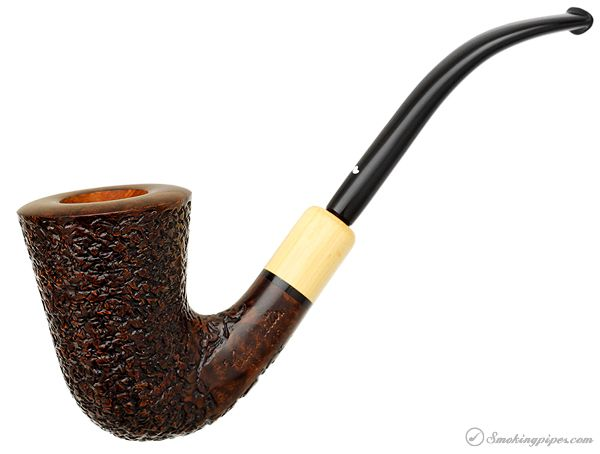 Caminetto Rusticated Bent Dublin with Boxwood (08) (AR) Pipes at Smoking Pipes .com