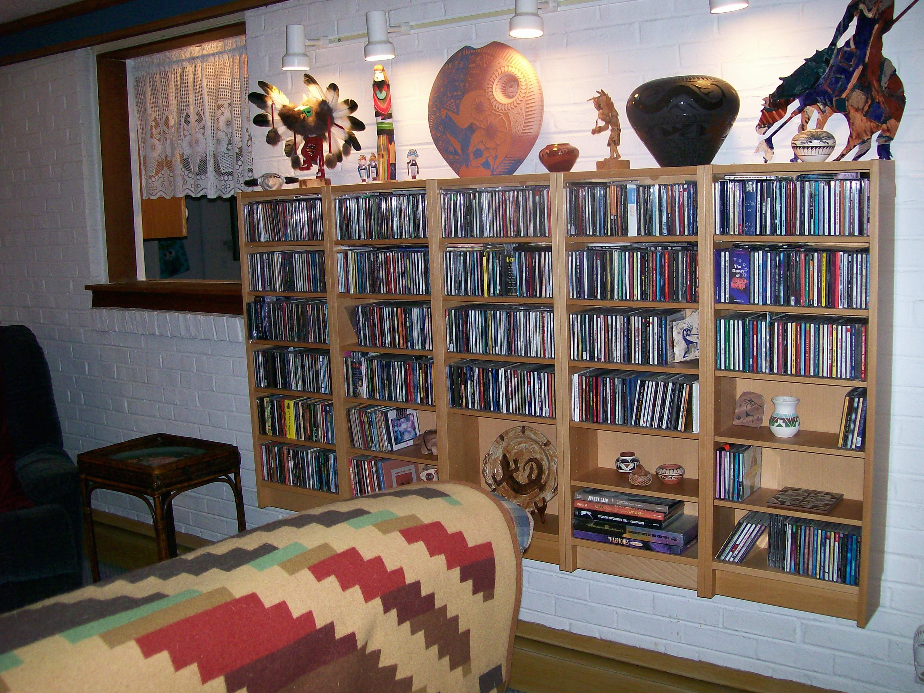 The Man Cave - Len's cd and Native American art collections.