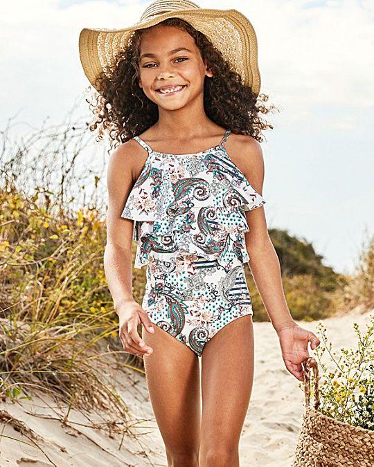 d4d3b6a7352 OndadeMar Ruffled One-Piece Swimsuit - Girls One Piece Swimsuit, My Girl,  Amelia