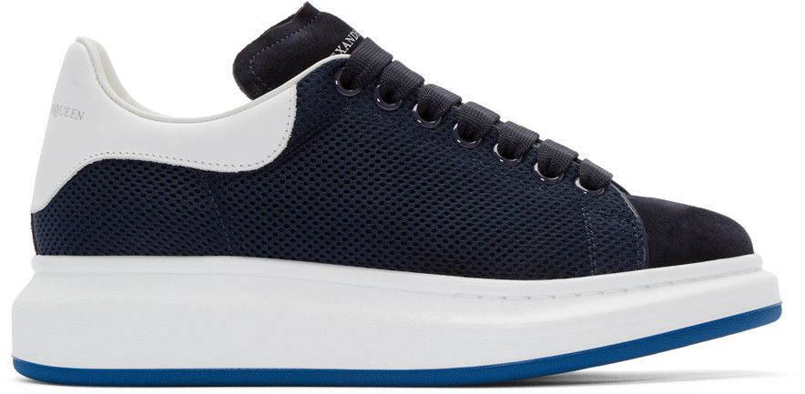 Leather And Suede Sneakers In Navy
