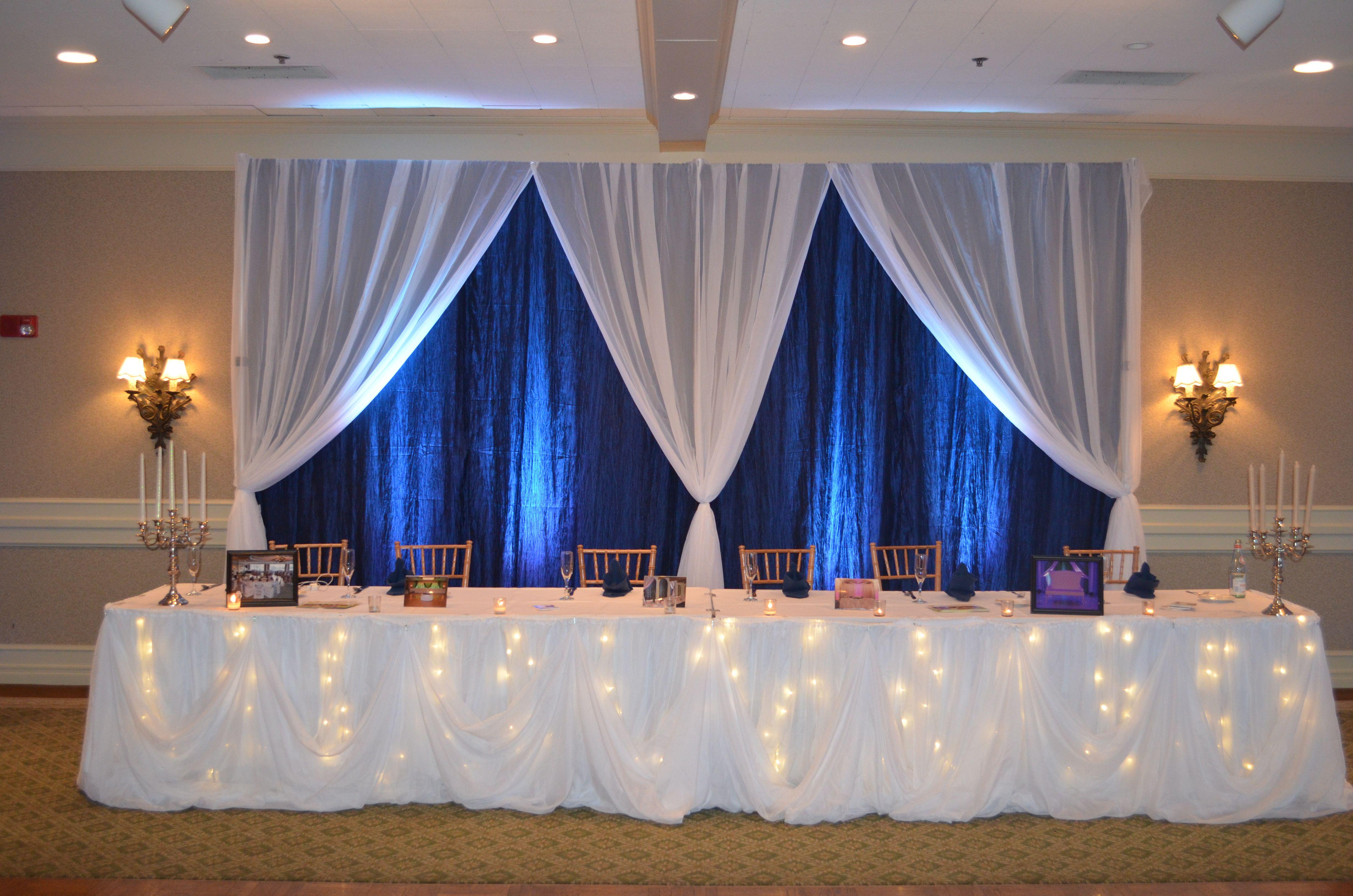 Blue and white wedding decor  Navy Blue u White Fairy tale Wedding Reception Head Table Backdrop