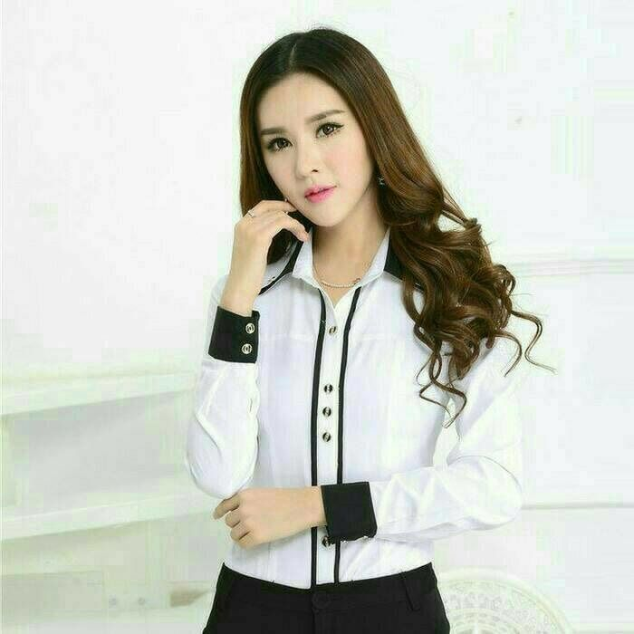 Model Kemeja Wanita Warna Putih Untuk Kerja Terbaru Model Batik