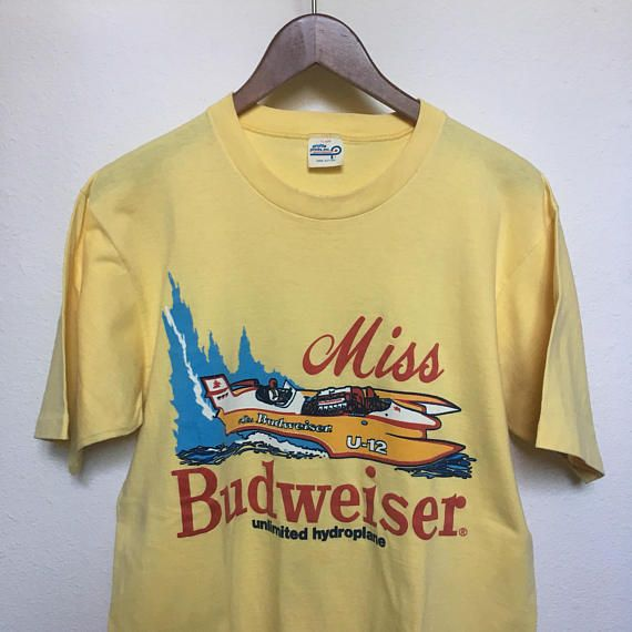92447629 Vintage Miss Budweiser graphic t-shirt, 70s 1970s beer tee, RARE vintage  graphic tee yellow, profile print tshirt, Bud tee, men L large 42