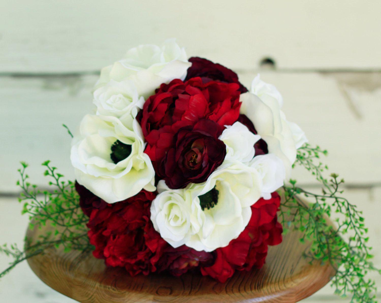 Silk burgundy marsala peony winter wedding bouquet marsala silk burgundy marsala peony winter wedding bouquet marsala burgundy anemone peony and ranunculus silk izmirmasajfo