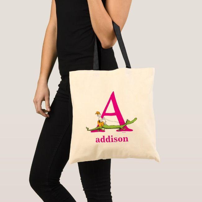 Dr. Seuss's ABC: Letter A - Pink | Add Your Name Tote Bag | Zazzle.com #autumnfoliage