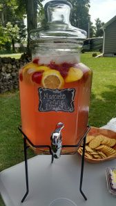 Moscato Wine Punch - For a punch bowl full, use a bottle of wine, 1 container of lemonade (try Simply Lemonade or other flavor), and 1/2 liter of Sprite. Frozen strawberries or frozen slices of lemon will keep the punch cool!