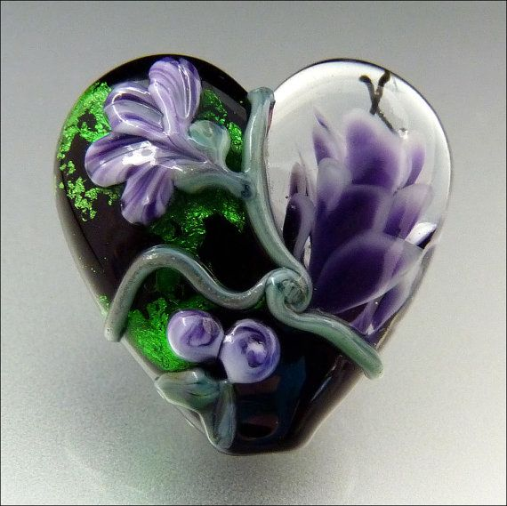 PURPLE BLACK GREEN Floral Heart Glass Bead by beadsbystephanie, $36.00
