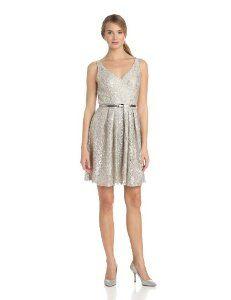 Donna Morgan Women's Sleeveless V Neck Dress with Pleated Full Skirt