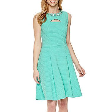 d759b0f2442 Sandra Darren Women s 1 Pc Sleeveless Solid Knit Fit and Flare Necklace  Dress. Find this Pin and more on Wedding Guest ...