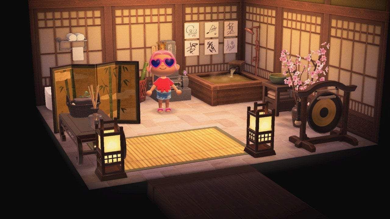 Harmonious Cypress Bathroom Furniture Set Animal Crossing Bamboo Wall Cypress