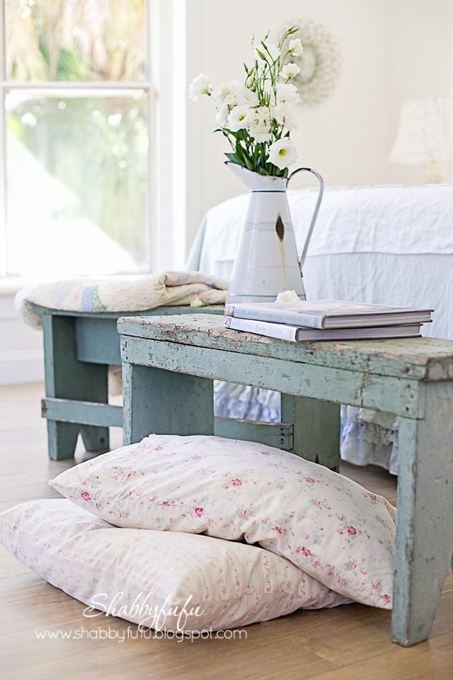 Shabbyfufu: Benches In The Bedroom...Shabby Chic Style