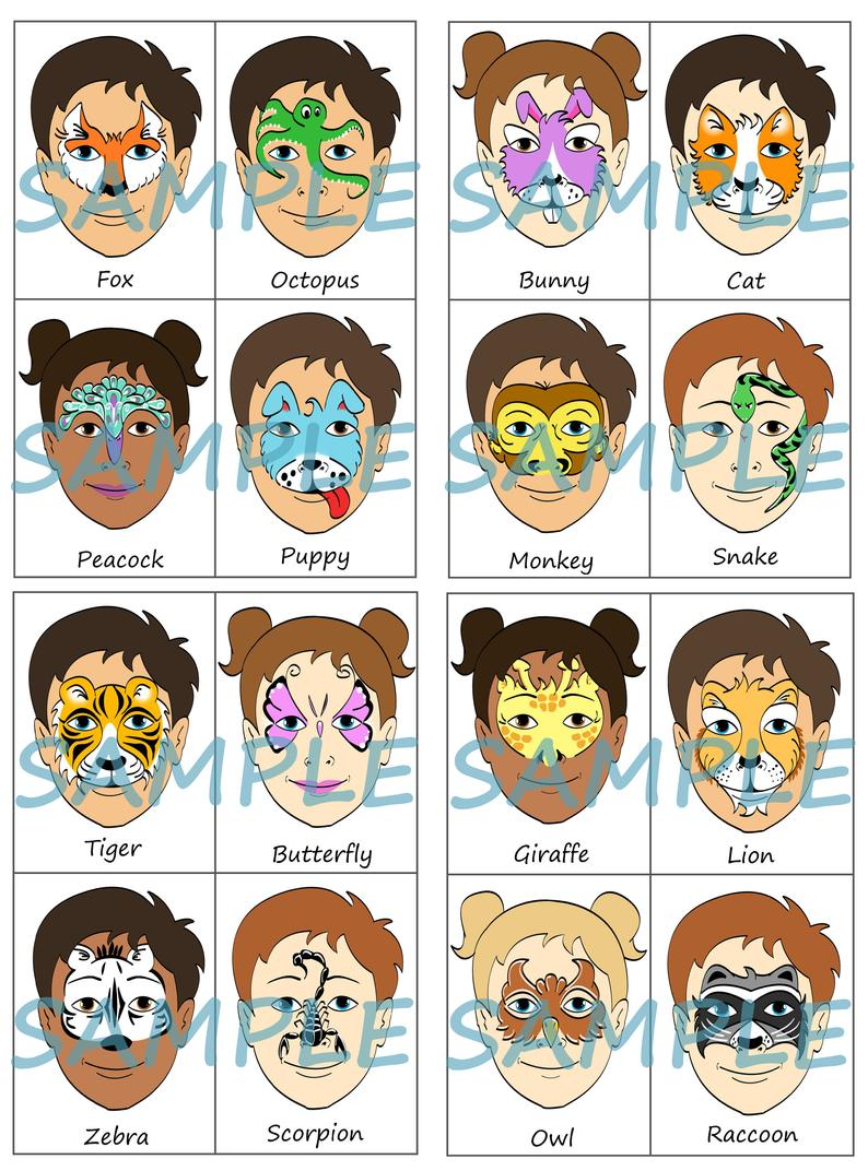 Face Paint Menu Pack Of 16 Animals Full Face Half Face Or Partial Face Designs Digital Download In 2020 Face Painting Face Painting Easy Christmas Face Painting