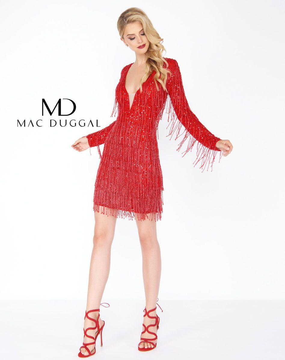 4633r Mac Duggal Red Fringe Dress Dresses Wedding Guest Dress Red Cocktail Dress [ 1199 x 948 Pixel ]