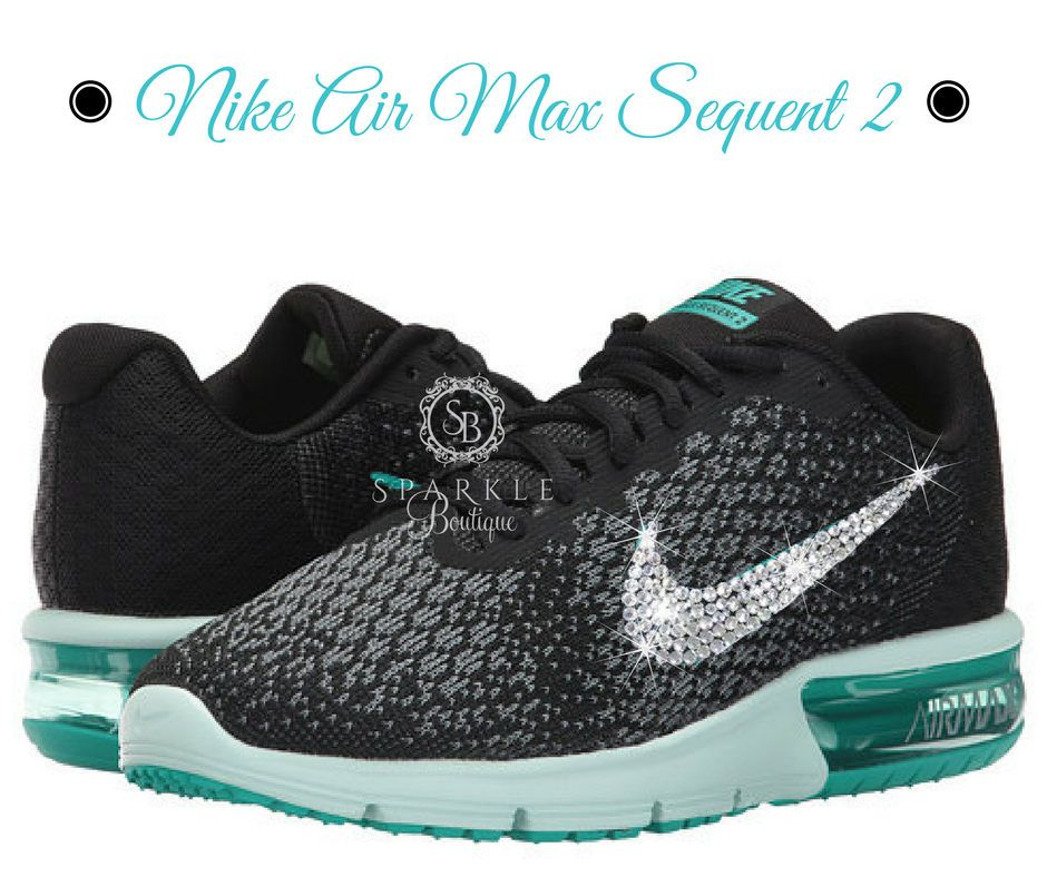 BLING Nike Air Max Sequent 2 - Tiffany Blue - Running Shoes - Crystal -  Black 614cfe912