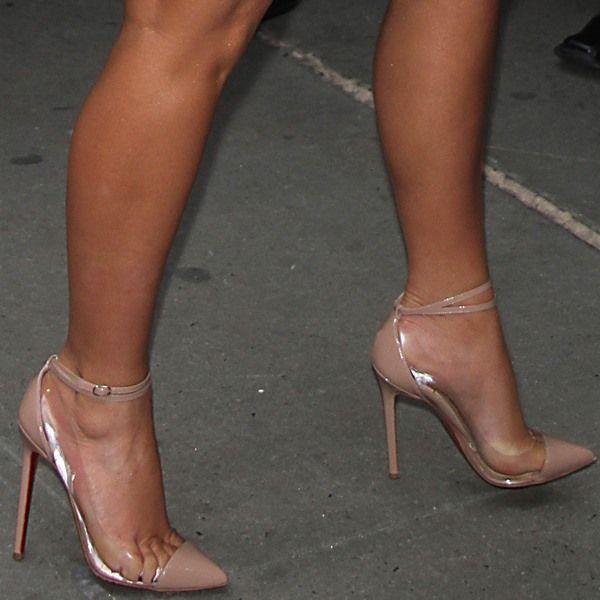 133efd3a56e Kim Kardashian in Christian Louboutin 'Un Bout' PVC ankle-strap ...