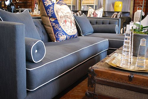 Dusty Blue Sofa With White Piping