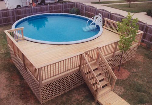 Pool deck designs for a 48 round above ground plansdeck Custom Swimming Pool Deck Design
