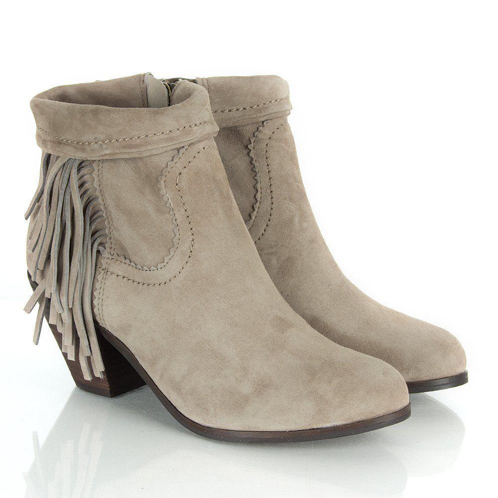 ed0b6f5ea615cc  159 Sam Edelman Louie Fringe Ankle Boot 6.5 in Taupe Gray Suede  SamEdelman   FashionAnkle