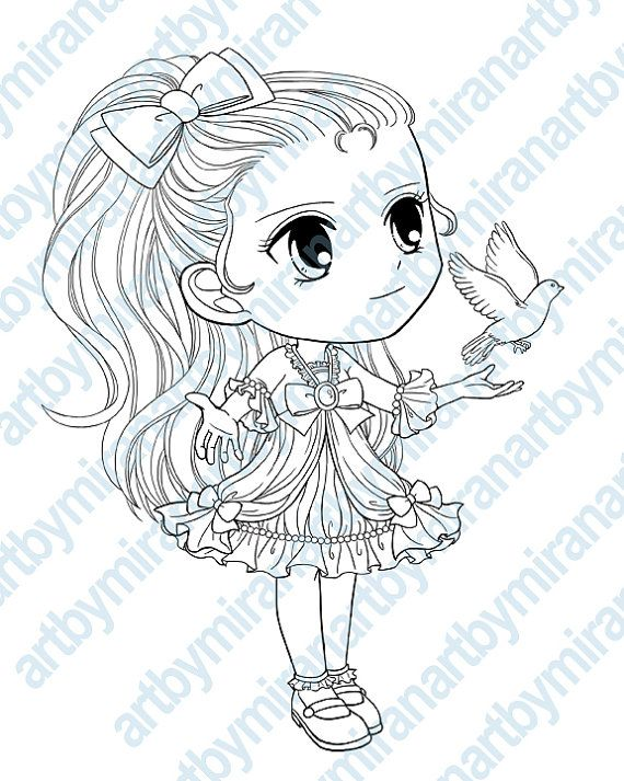 Digital Digi Stamps Big Eye Doll Coloring Page Girl With Dove For