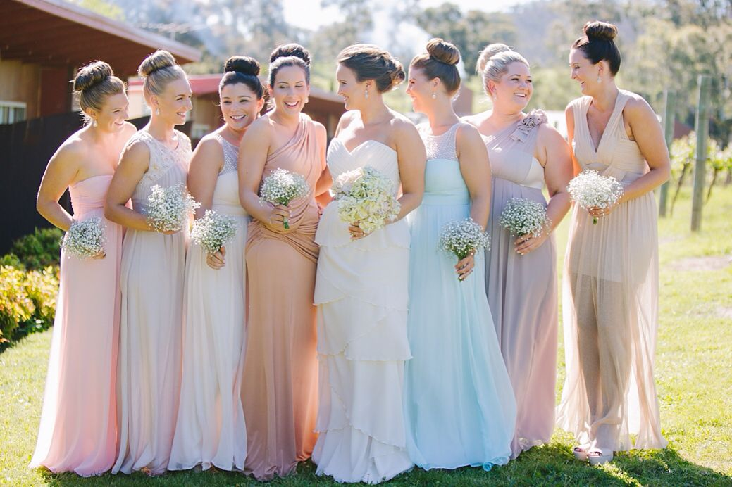 Light Blue Accent and Grey Bridesmaid Dresses
