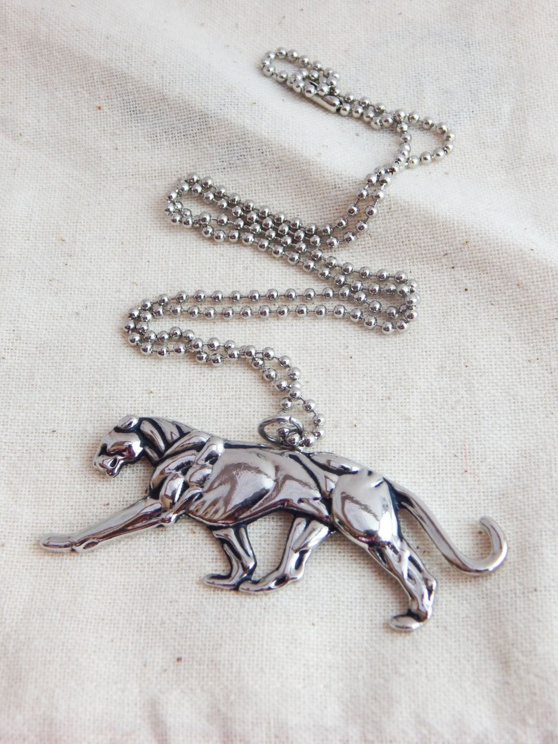 New to TheBlackerTheBerry on Etsy: Large Silver Panther Necklace Panther Pendant Panther Jewelry Mens Jewelry Cougar BIg Cat NFL Panthers Mens Necklace hip hop jewelry
