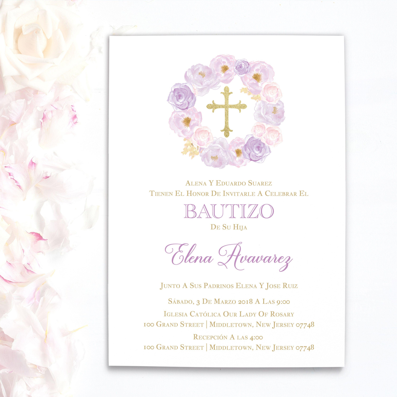 Invitaciones de bautizo | invitaciones de bautizo niña | Spanish ...