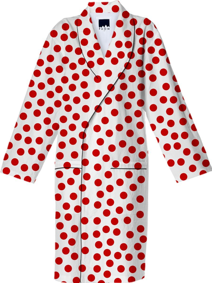 #Red #Polka #Dots Cotton #Robe from Print All Over Me