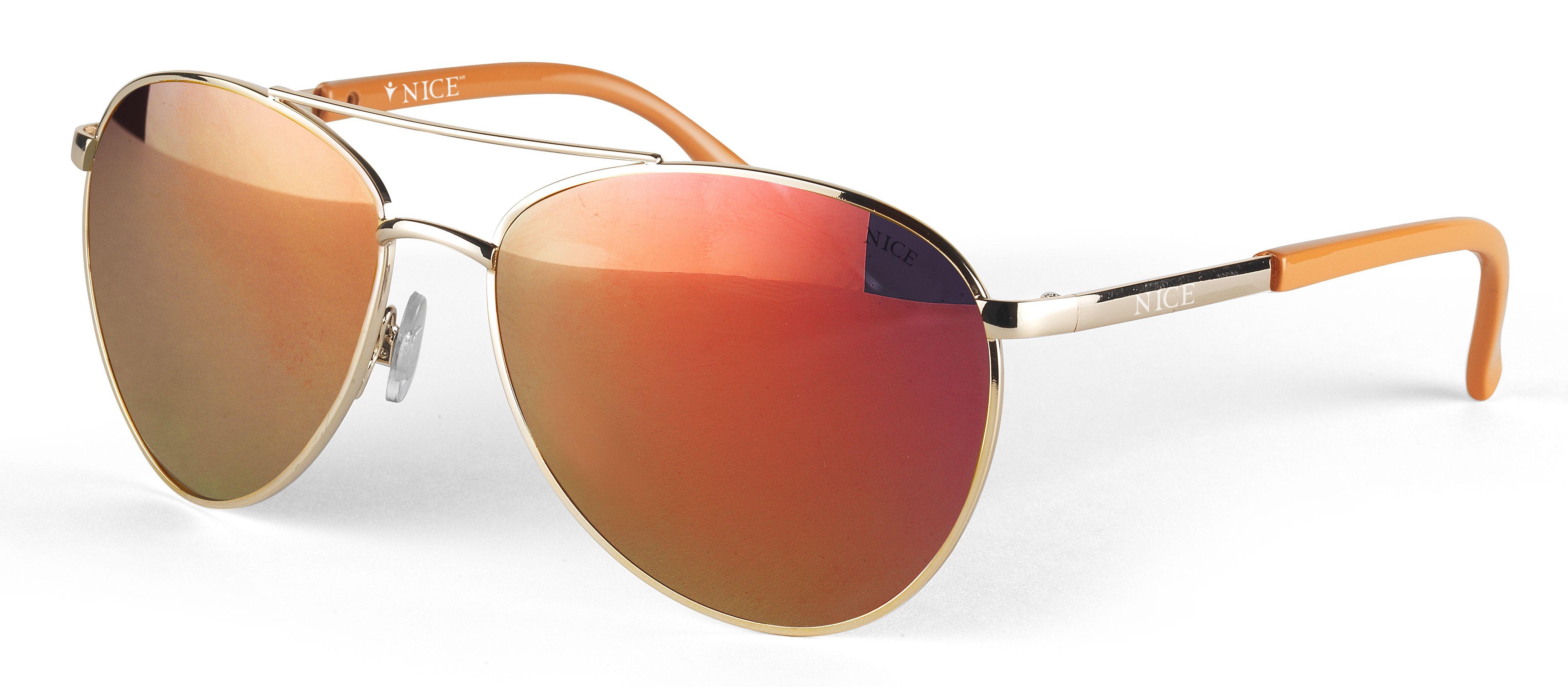 Lentes de sol unisex estilo aviador con montura plateada y naranja ... f680e9518597