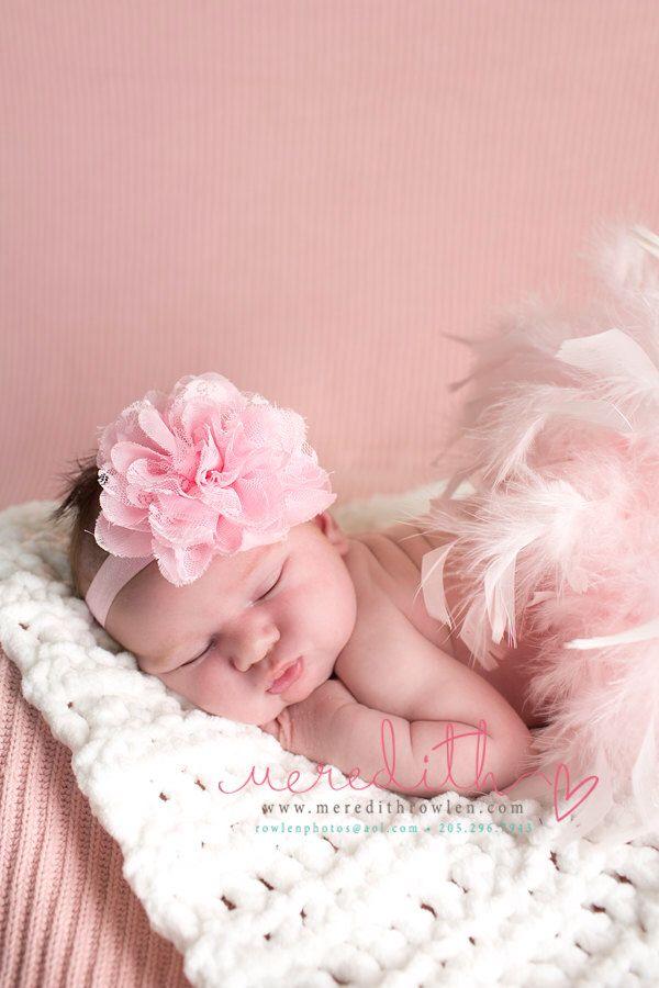 Newborn Photo Prop Baby Girl Headband Baby Photo Prop Baby Headband Pink Headband Pink Chiffon Headband