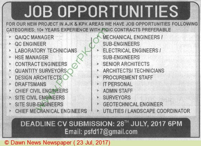 Manager Laboratory Technicians Quantity Surveyor Mechanical