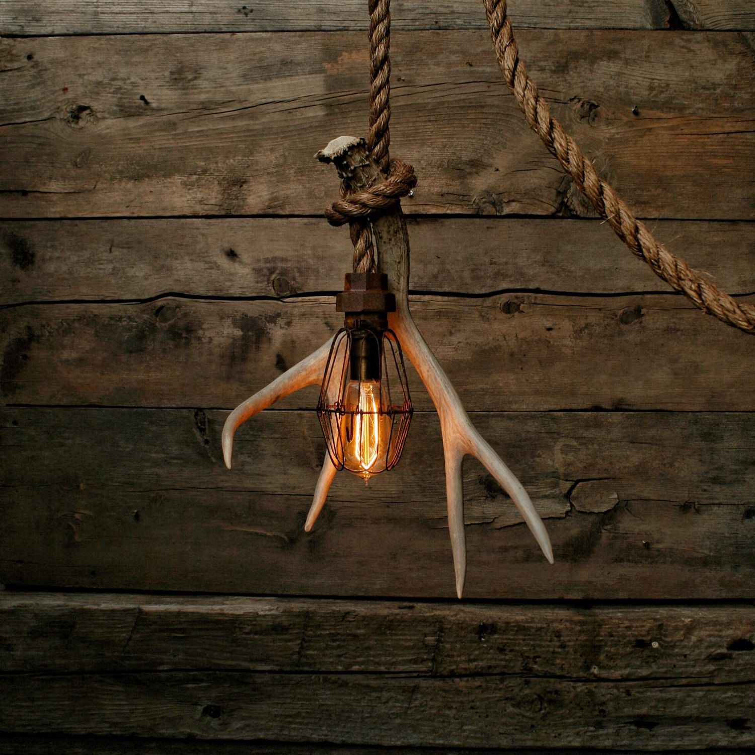 Antler shed pulley light barn wood pendant light manila rope antler shed pulley light barn wood pendant light manila rope light rustic chandelier aloadofball Choice Image