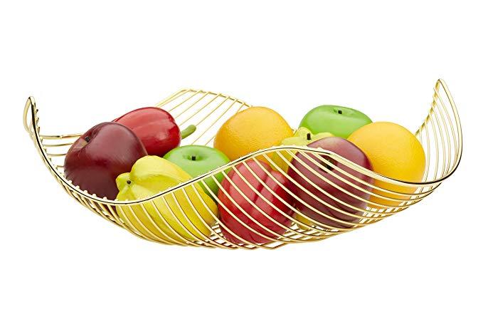 Amazon Com Vistella Fruit Bowl Basket In Shiny Gold 5 Colors