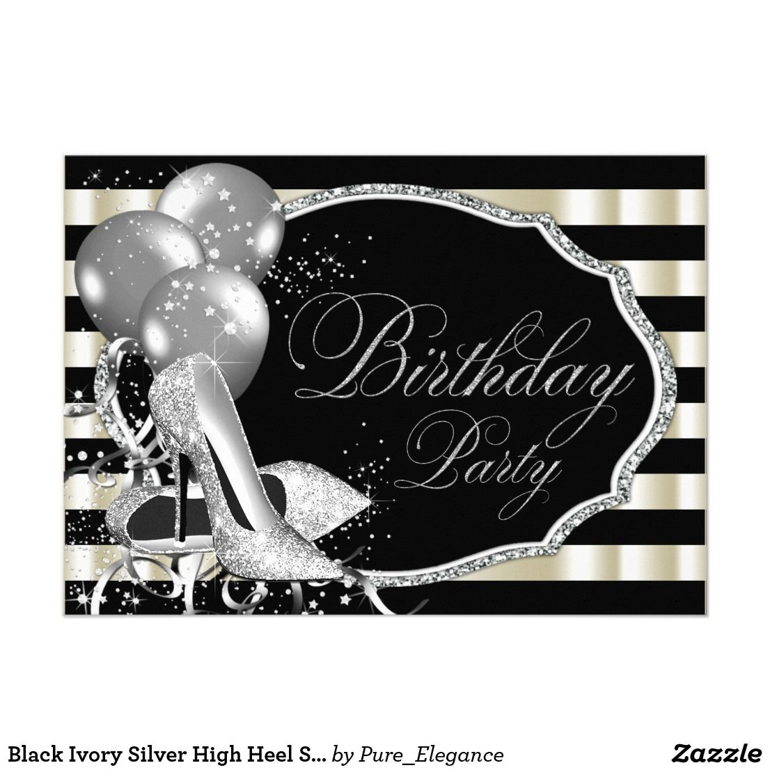 Black Ivory Silver High Heel Shoe Birthday Party Card | Silver high ...